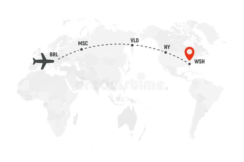 Линия путь самолета Маршрут полета самолета воздуха с пунктом начала и трассировкой штрихового пунктира Плоский значок над картой иллюстрация вектора