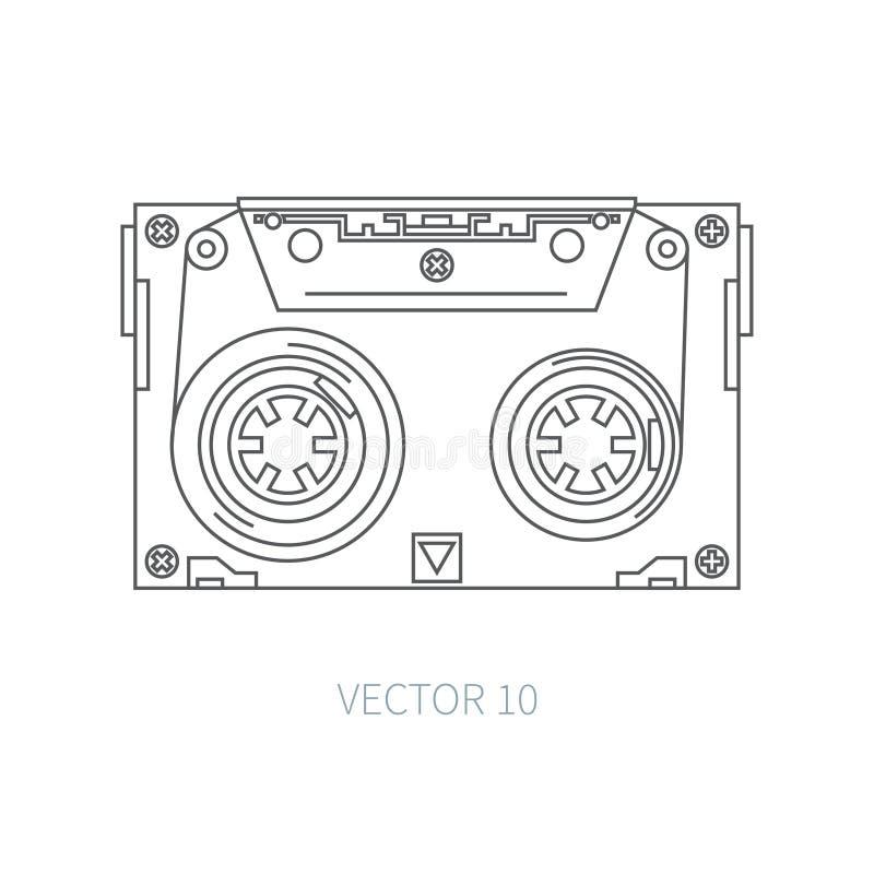 Линия плоская магнитофонная кассета значка вектора Стиль битника аукционов нот звук ретро Магнитная лента Сетноые-аналогов мульти бесплатная иллюстрация