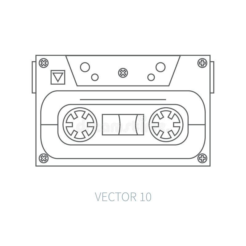 Линия плоская магнитофонная кассета значка вектора Стиль битника аукционов нот звук ретро Магнитная лента Сетноые-аналогов мульти иллюстрация штока