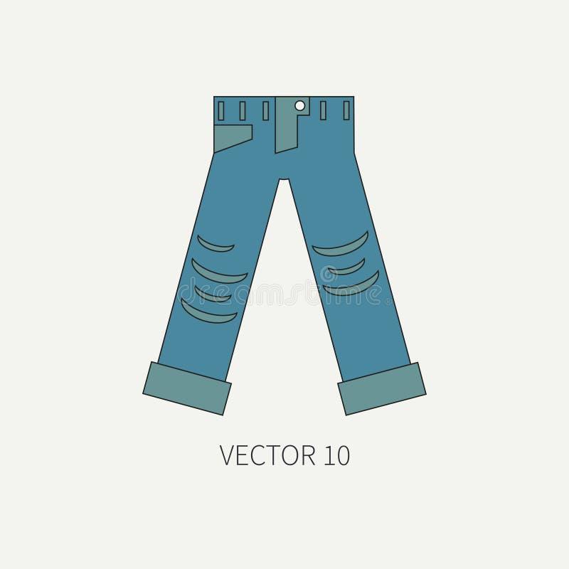 Линия плоская носка значка вектора цвета - сорванные джинсы Стиль панковского утеса иллюстрация вектора