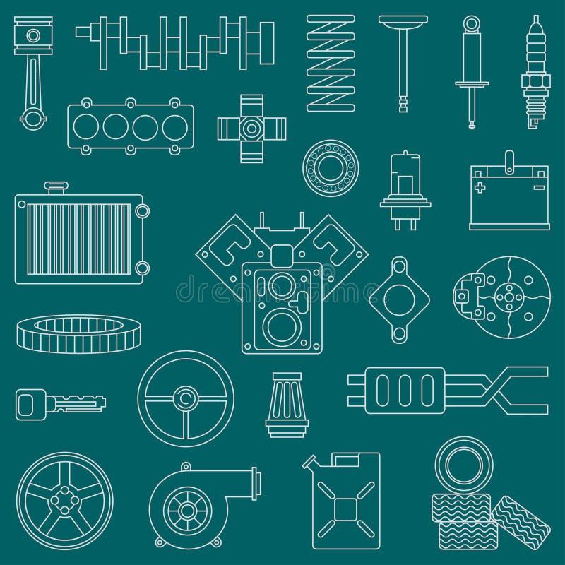 Линия плоские части автомобиля значка вектора установила с элементами двигателя внутреннего сгорания конца undercarriage промышле бесплатная иллюстрация