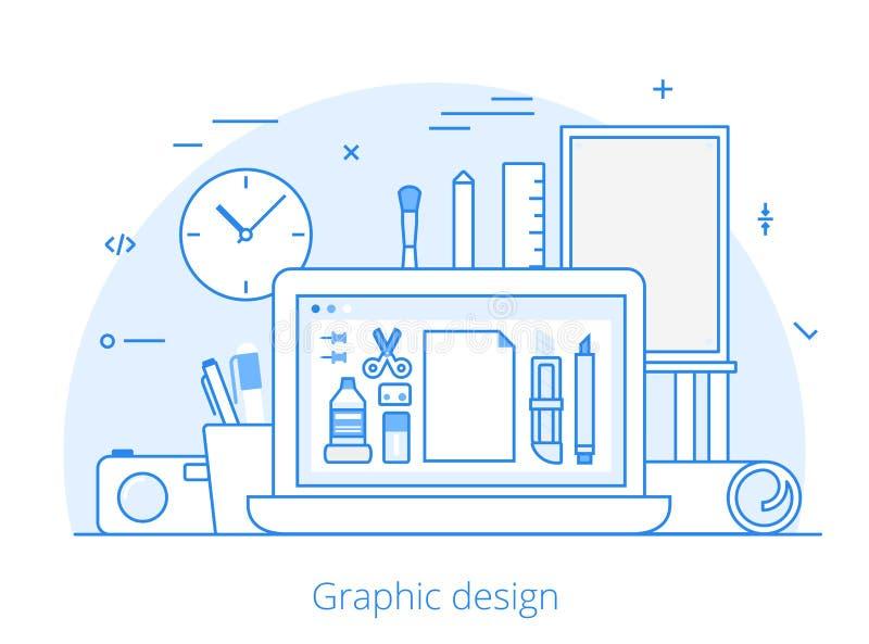 Линия плоское искусство вебсайта графического дизайна оборудует вектор иллюстрация штока