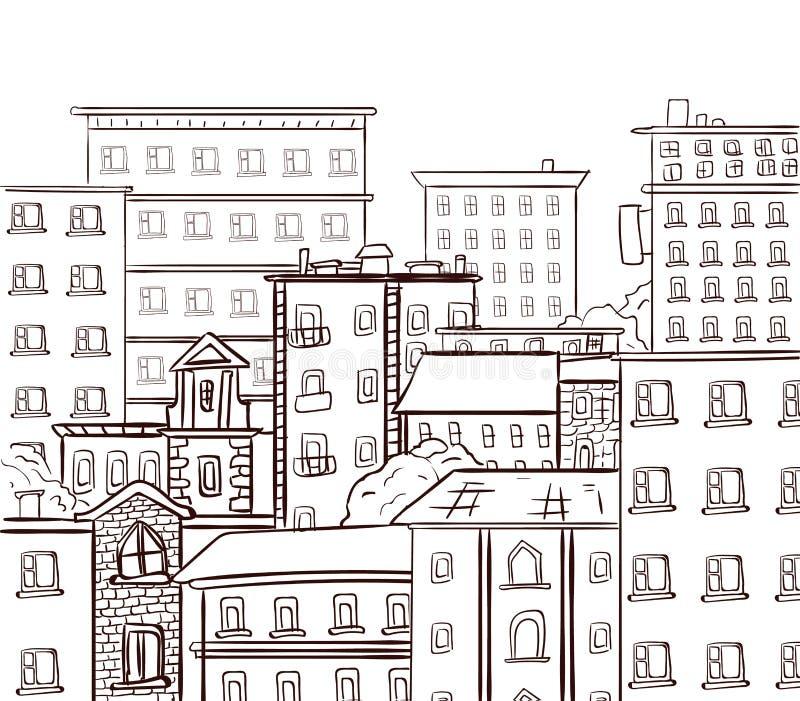 Линия работа, город doodle Черные линии на белой предпосылке Эскиз вектора нарисованный рукой иллюстрация штока