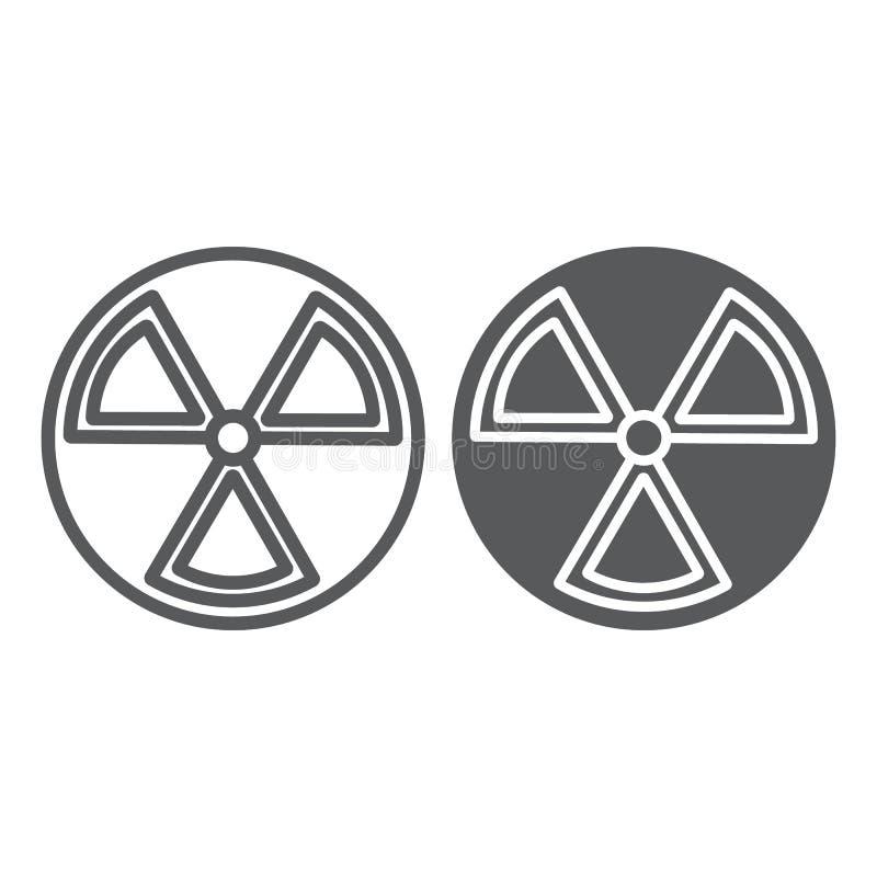 Линия радиации и значок глифа, предупреждение и символ, знак опасности, векторные графики, линейная картина на белой предпосылке иллюстрация вектора