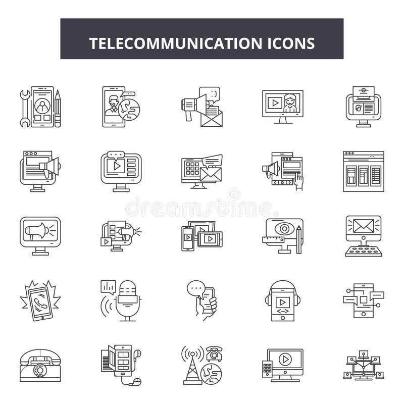 Линия радиосвязи значки, знаки, набор вектора, концепция иллюстрации плана иллюстрация штока