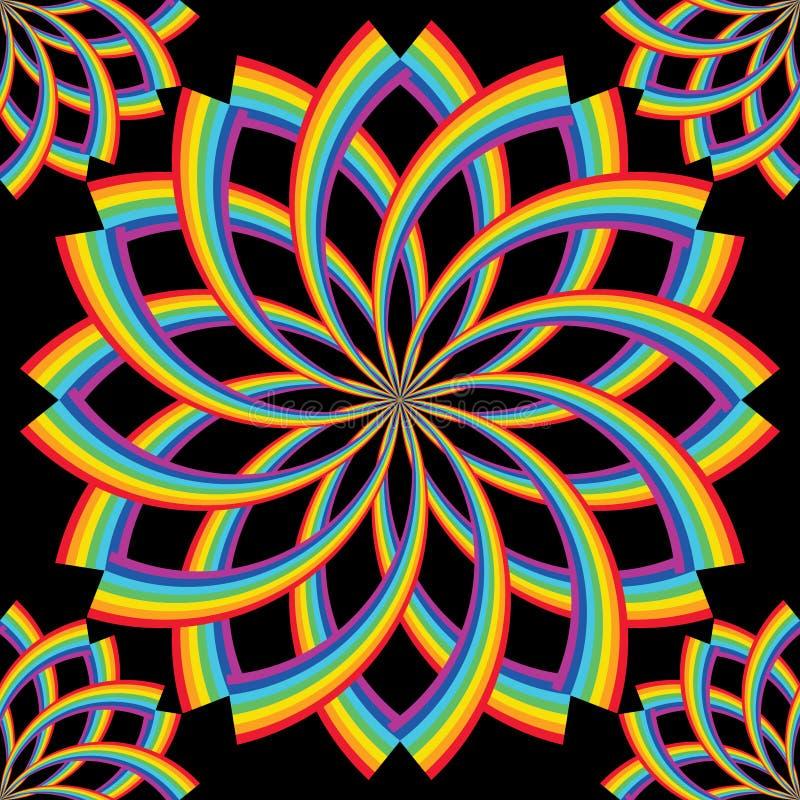 Линия радуги поворачивает симметрию цветка безшовную иллюстрация вектора