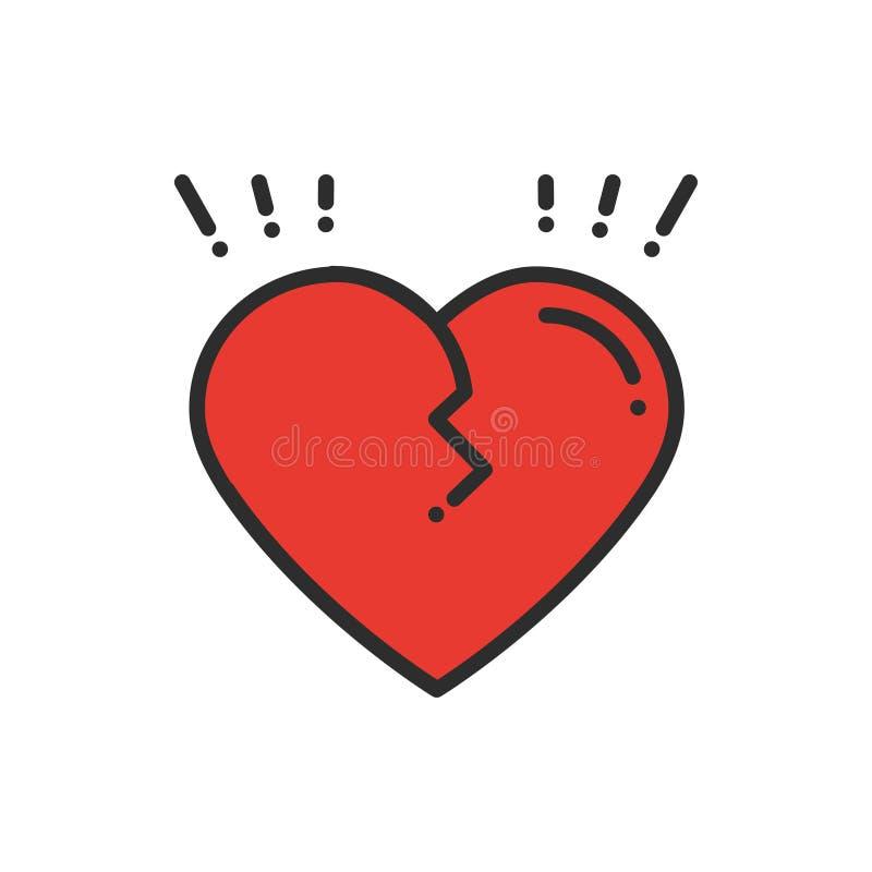 Линия разбитого сердца значок Знак и символ Тема большого горя предательства развода свадьбы лож отношения конца влюбленности Сер иллюстрация вектора