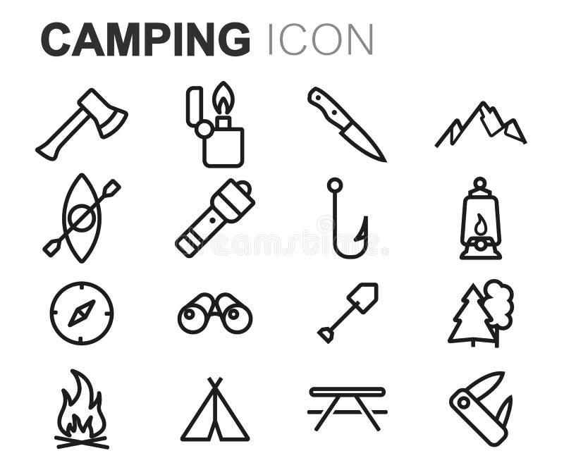 Линия располагаясь лагерем установленные значки вектора черная иллюстрация штока