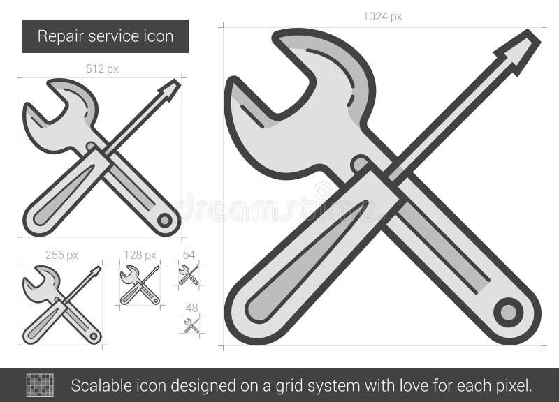 Линия ремонтных услуг значок иллюстрация вектора