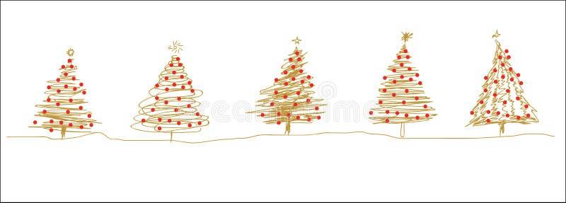 Линия рождественской елки эскизы золота красная в ряд иллюстрация вектора