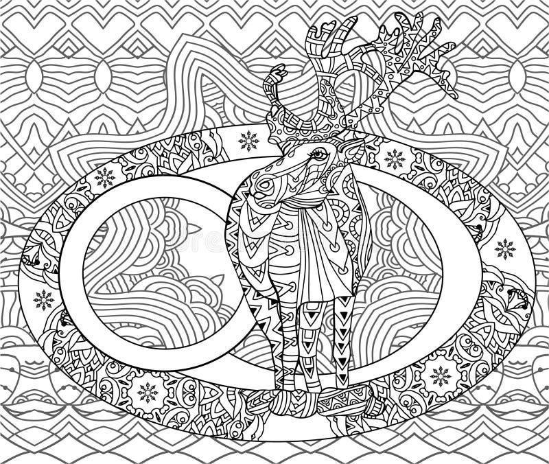 Линия рождественская открытка искусства Книжка-раскраска для взрослых иллюстрация штока
