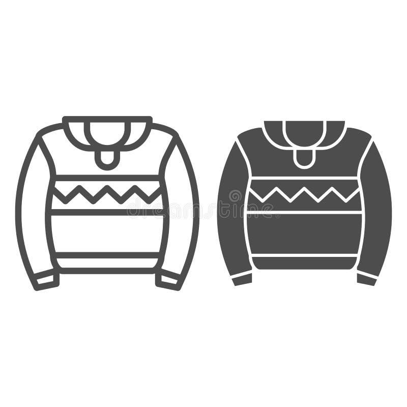 Линия свитера и значок глифа Иллюстрация вектора прыгуна изолированная на белизне Теплые одежды конспектируют конструированный ди бесплатная иллюстрация
