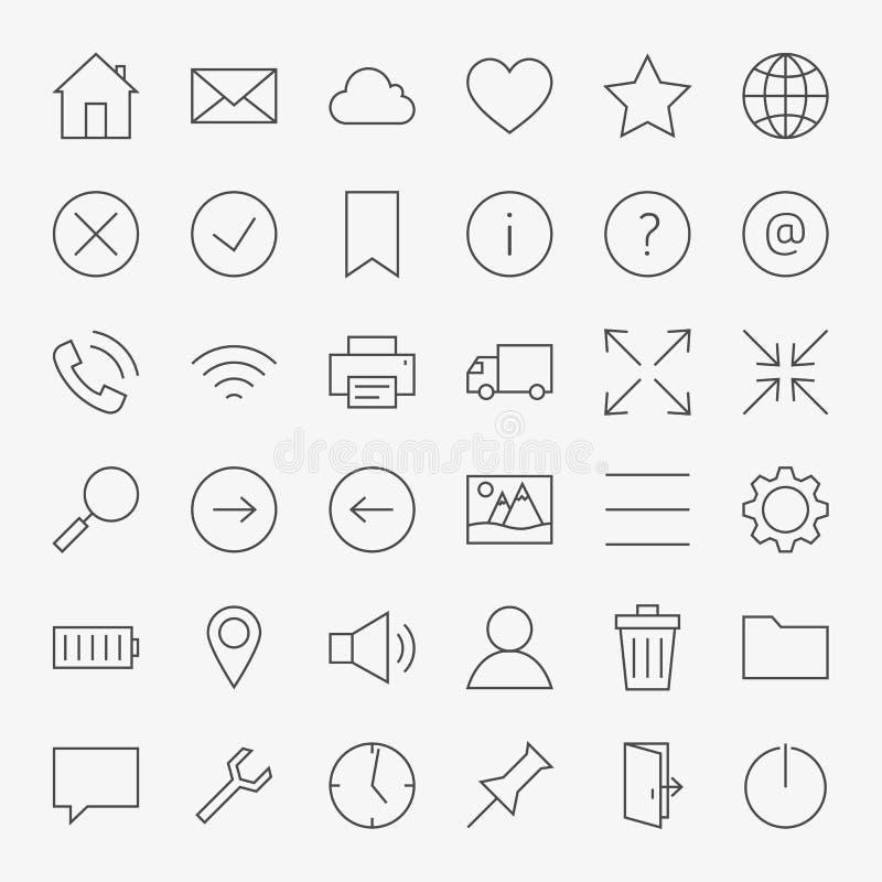 Линия сеть и комплект значков дизайна пользовательского интерфейса большой иллюстрация штока