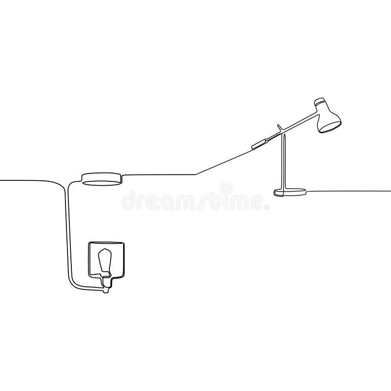 линия силуэт лампы и настольной лампы одного свечи значка света лампы пола для мебели бытовой техники крытой Изолированная плоска бесплатная иллюстрация