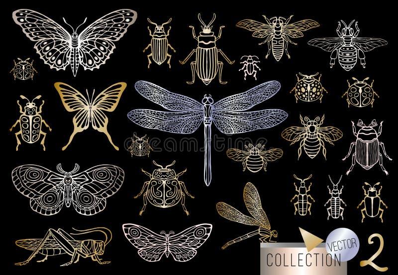 Линия сильной руки вычерченная золотая установила ошибок насекомых, жуков, пчел меда, бабочки, сумеречницы, шмеля, оси, dragonfly бесплатная иллюстрация