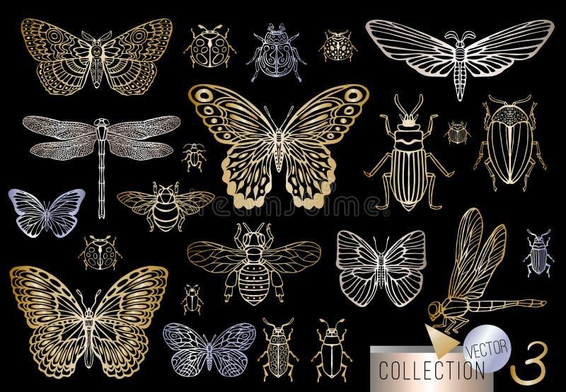 Линия сильной руки вычерченная золотая установила ошибок насекомых, жуков, пчел меда, бабочки, сумеречницы, шмеля, оси, dragonfly иллюстрация штока
