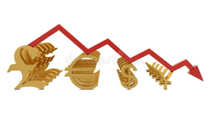 линия символы валют золотистая красного цвета иллюстрация штока