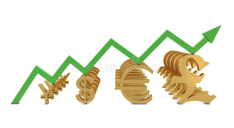 линия символы роста валют золотистая зеленая иллюстрация вектора
