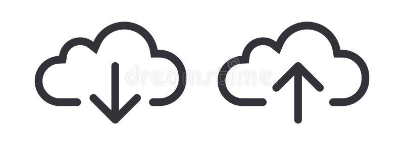 Линия символ вектора стрелки облака загрузки загрузки значка искусства иллюстрация штока