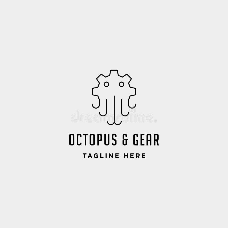 линия символ индустрии моря вектора логотипа осьминога шестерни знака значка изолировала бесплатная иллюстрация