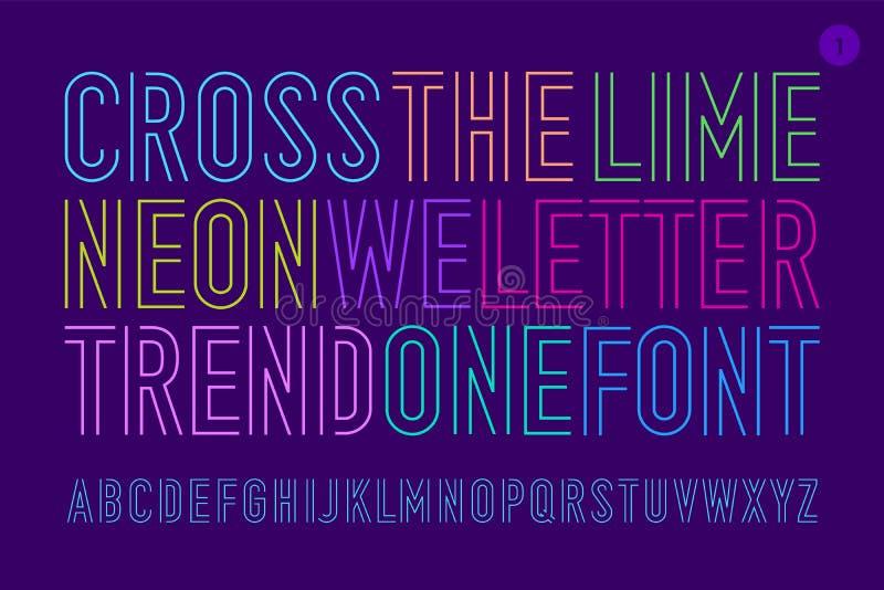 Линия сконденсированные алфавит и шрифт бесплатная иллюстрация