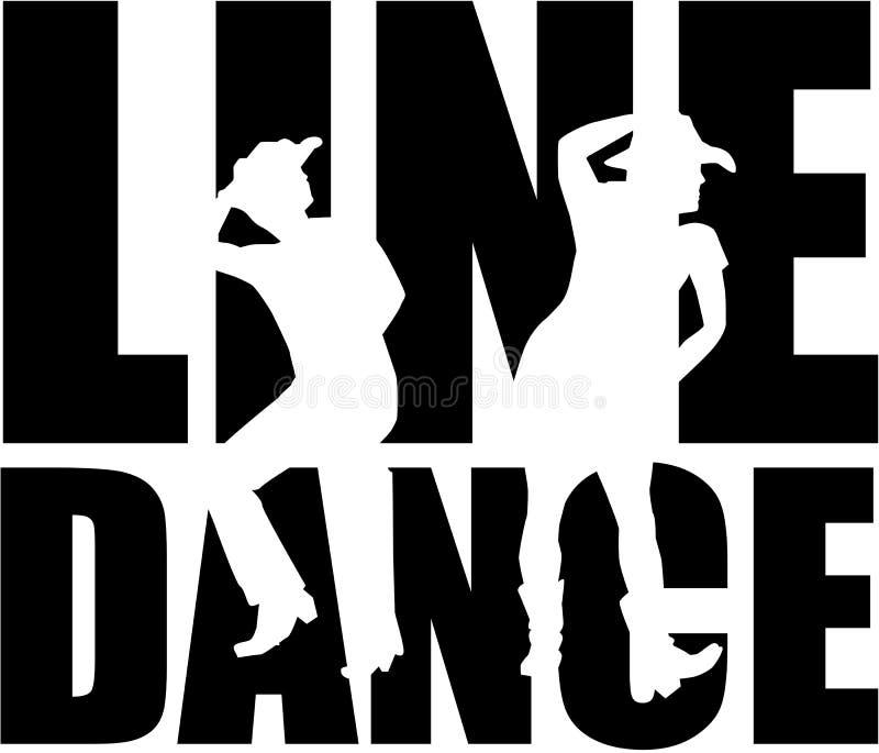 Линия слово танца с силуэтом иллюстрация вектора