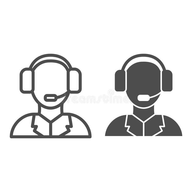 Линия службы технической поддержки и значок глифа Иллюстрация вектора центра телефонного обслуживания изолированная на белизне Ст иллюстрация штока