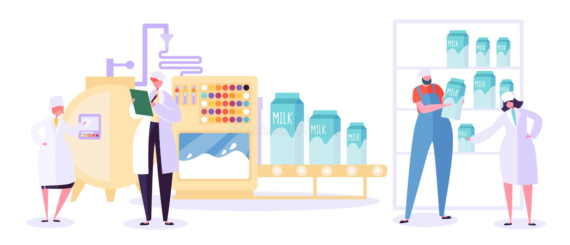 Линия собрание индустрии продукции фермы молока Набор завода машины еды молокозавода Современный напиток молокозавода теста харак иллюстрация штока