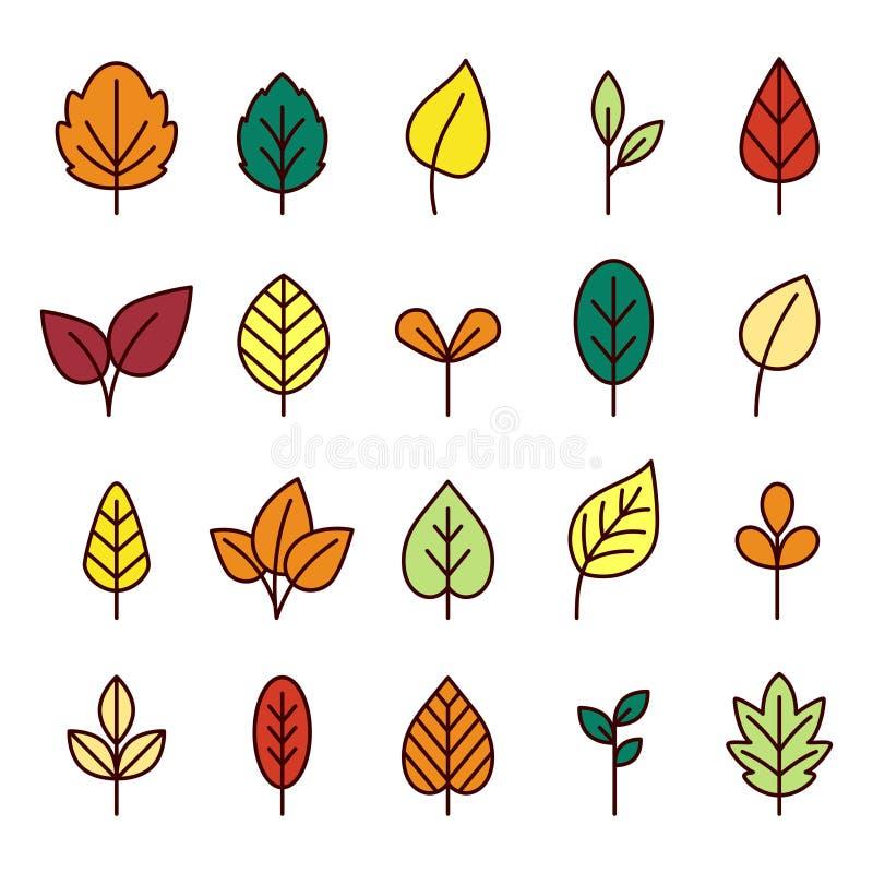 Линия собрание листьев значка бесплатная иллюстрация