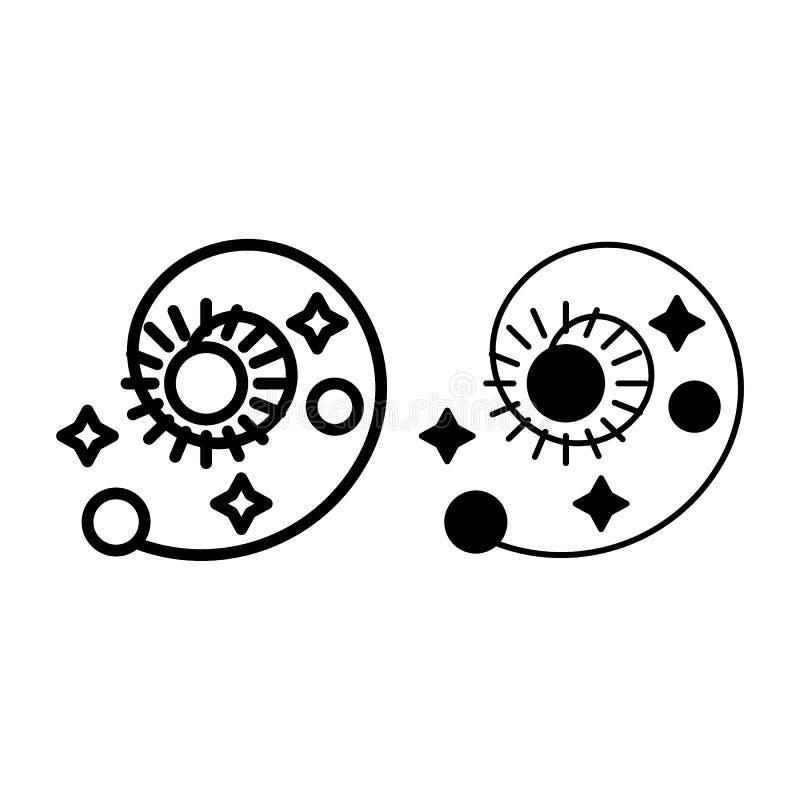 Линия солнечной системы и значок глифа Иллюстрация вектора астрономии изолированная на белизне Спираль с солнцем, звездами и план иллюстрация вектора