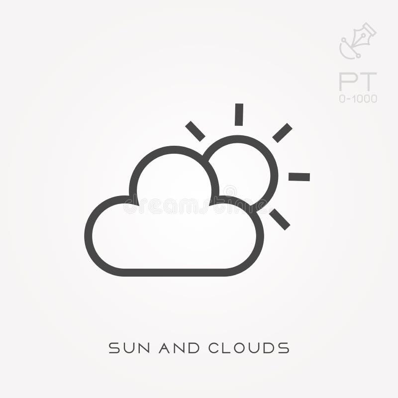 Линия солнце и облака значка бесплатная иллюстрация