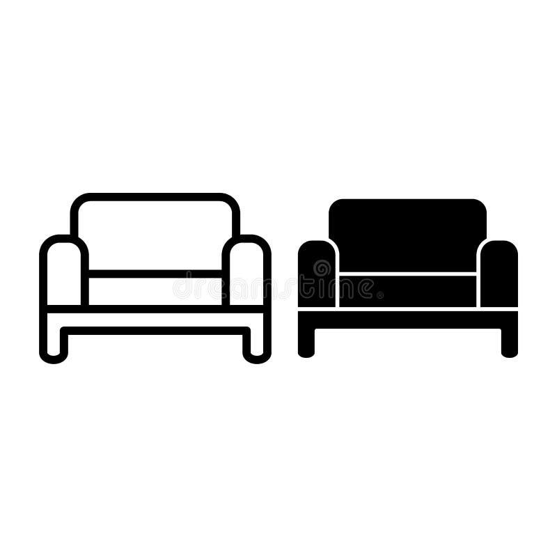 Линия софы и значок глифа Иллюстрация вектора кресла изолированная на белизне Дизайн стиля плана мебели живущей комнаты иллюстрация вектора