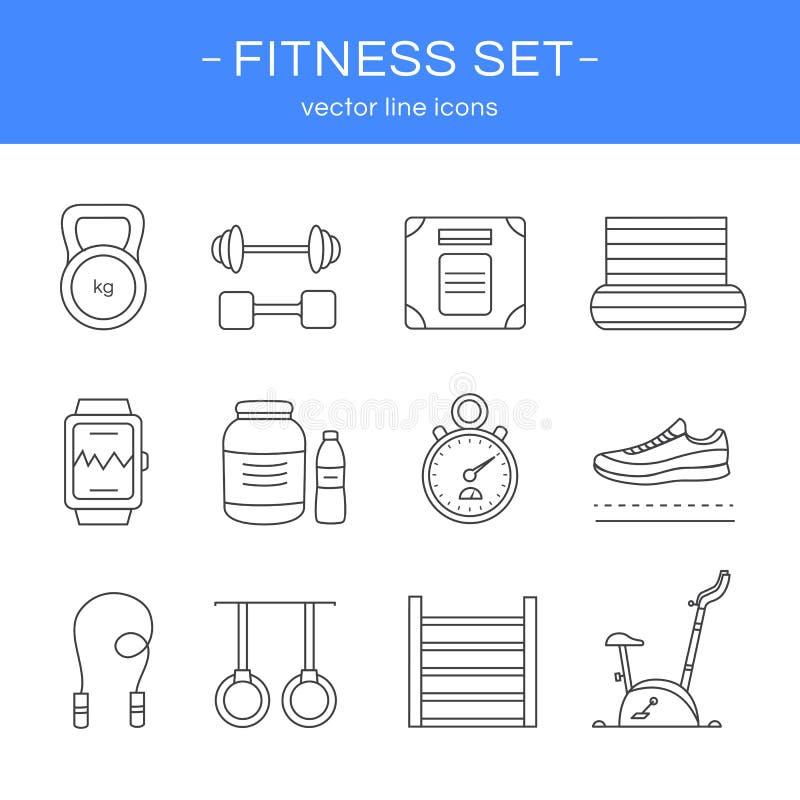 Линия спортзал и фитнес значков иллюстрация вектора