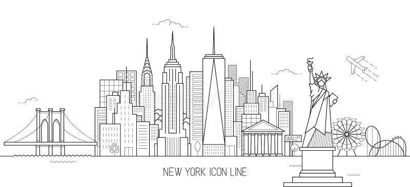 Линия стиль горизонта Нью-Йорка искусства иллюстрация вектора