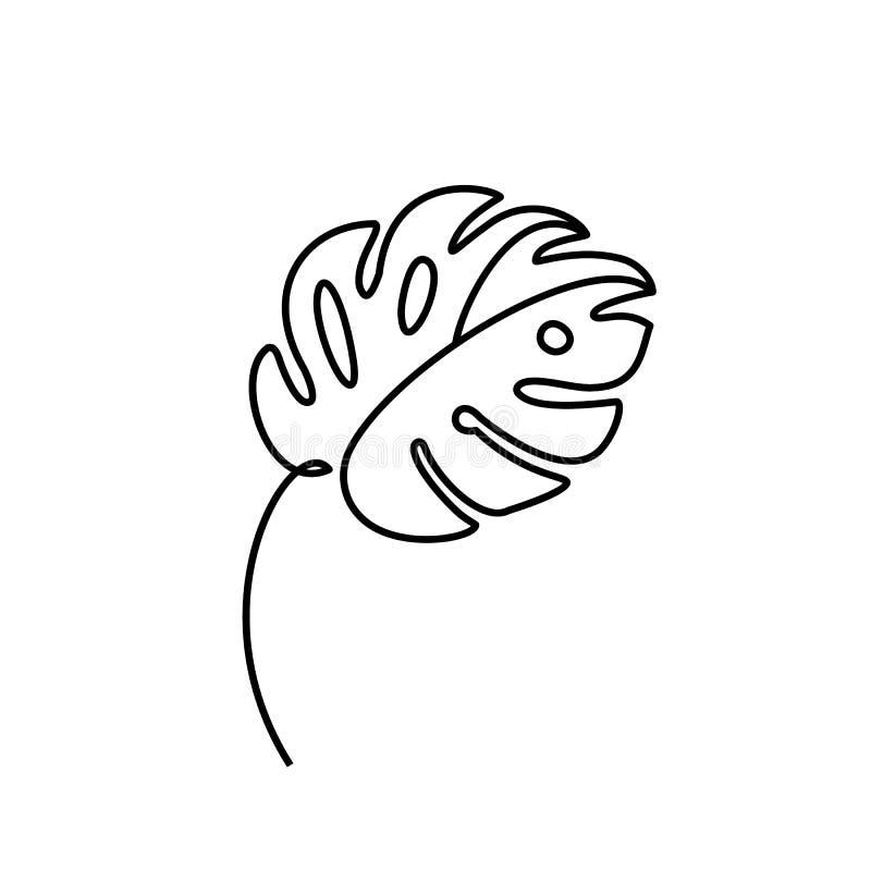 Линия стиль лист Monstera минимальная Непрерывная линия ладонь вектора конспекта чертежа тропическая изолированная на белой предп иллюстрация штока