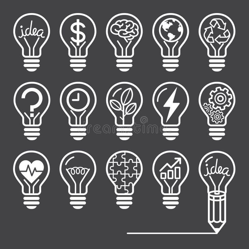 Линия стиль концепции электрической лампочки значков бесплатная иллюстрация