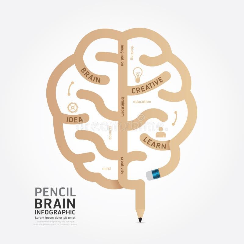 Линия стиль проектной схемы мозга карандаша вектора Infographics иллюстрация вектора