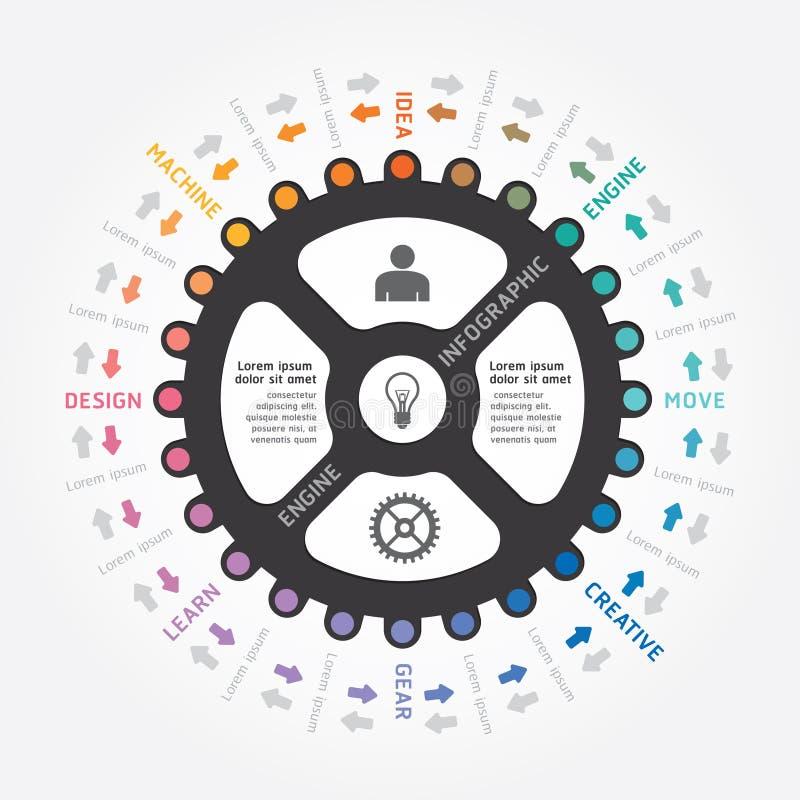 Линия стиль проектной схемы шестерни вектора Infographics иллюстрация штока