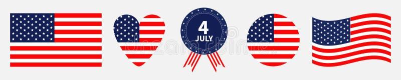 Линия счастливого значка Дня независимости установленная Соединенные Штаты Америки 4-ое -го июль Развевая американский флаг, серд иллюстрация штока