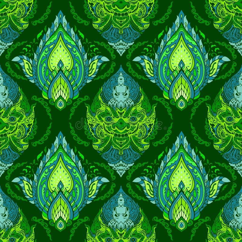 Линия тайский король гиганта и Будды бога с дизайном цветка лепестка для безшовной картины с ярким зеленым цветом и голубым тоном иллюстрация штока