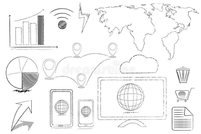 Линия текстуры карандаша объекта глобализации технологии собрания иллюстрация вектора