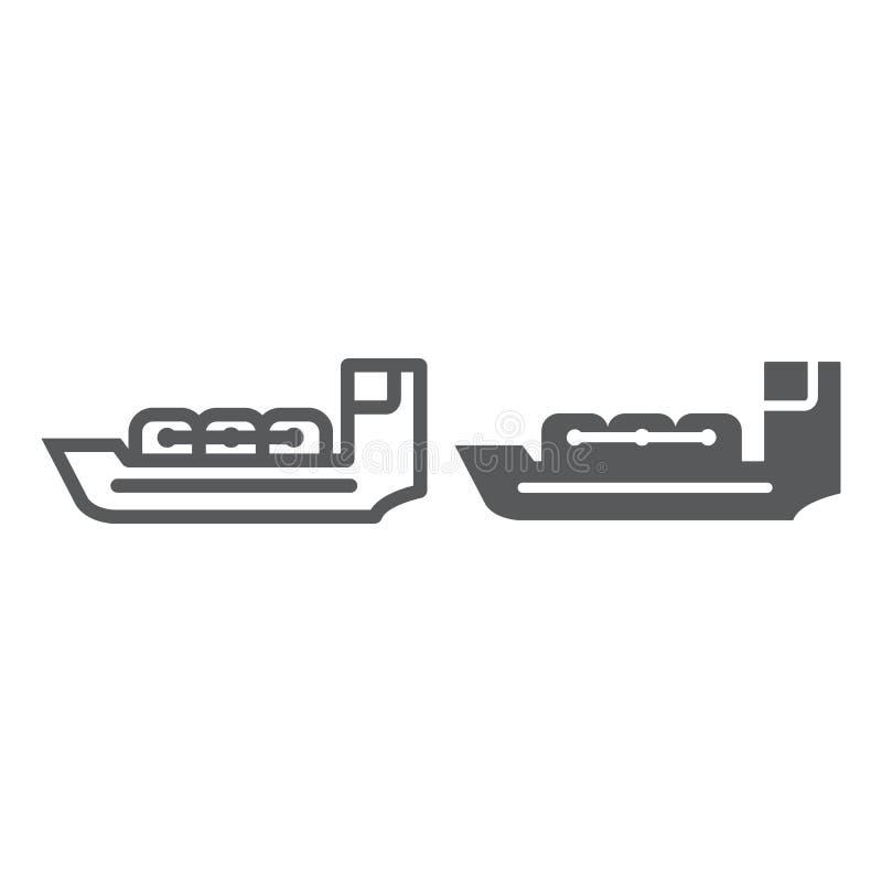 Линия топливозаправщика и значок глифа, шлюпка и корабль, знак сосуда, векторные графики, линейная картина на белой предпосылке бесплатная иллюстрация