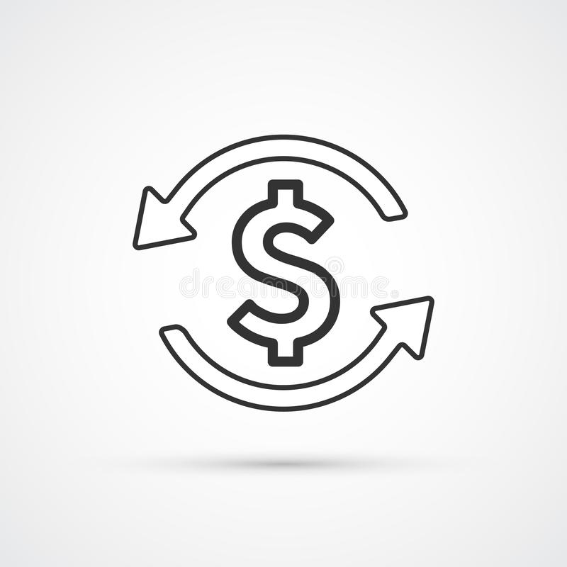 Линия ультрамодный черный значок обменом денег плоская r иллюстрация штока