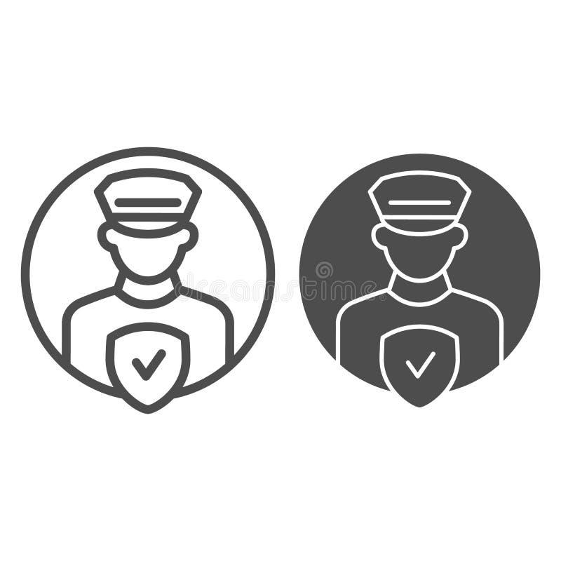 Линия управления офицера Pollice и значок глифа Полицейский с иллюстрацией вектора проверки изолированной на белизне Безопасность иллюстрация вектора