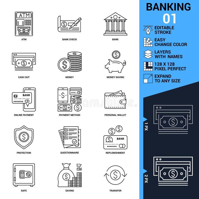 Линия установленные значки вектора банка иллюстрация штока