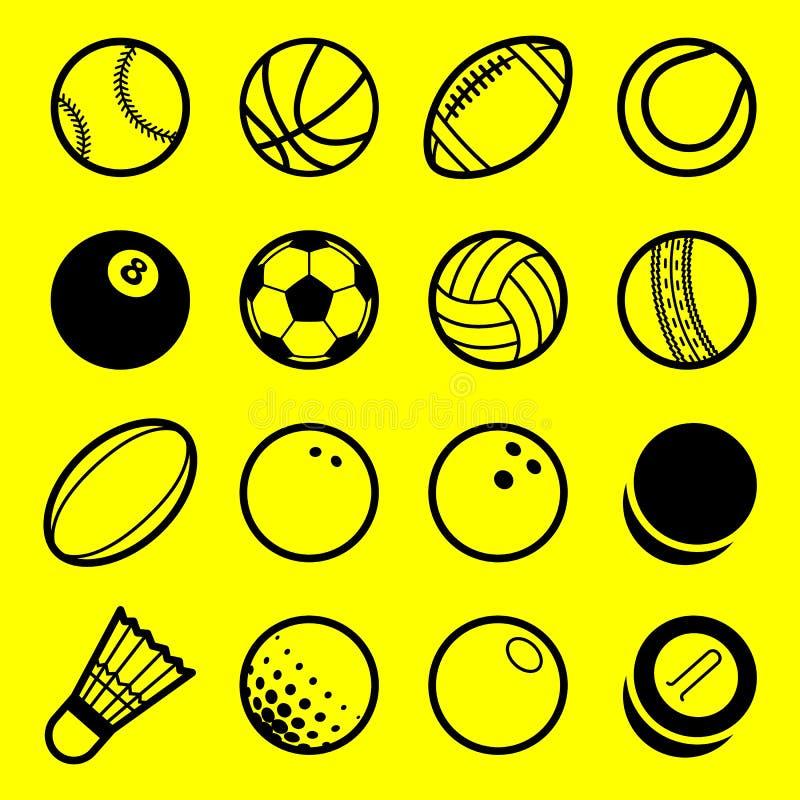 Линия установленные значки вектора плоская логотипа шариков спорта игры искусства иллюстрация штока
