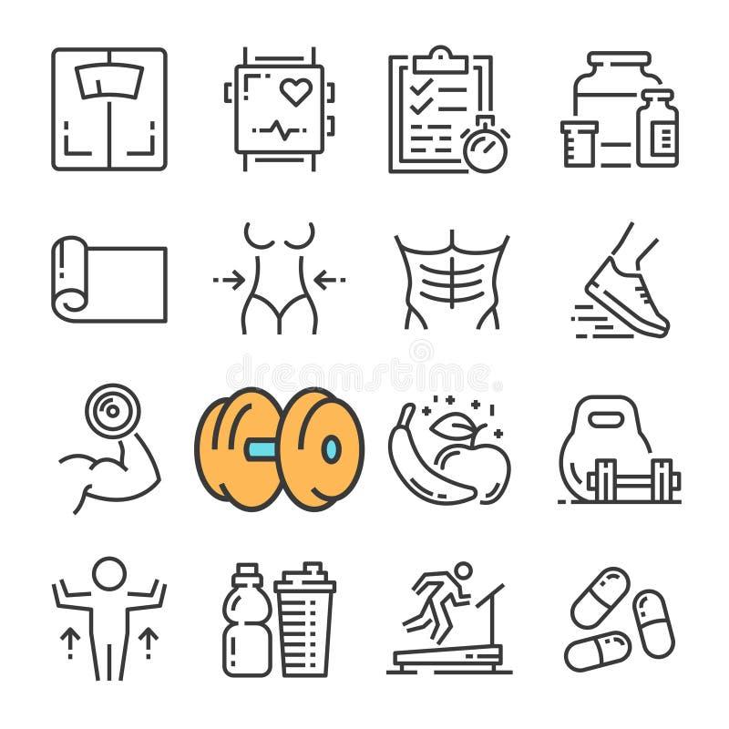 Линия установленные значки вектора черная оборудования спортзала фитнеса Включает такие значки как фитнес оборудования, женщина т иллюстрация вектора