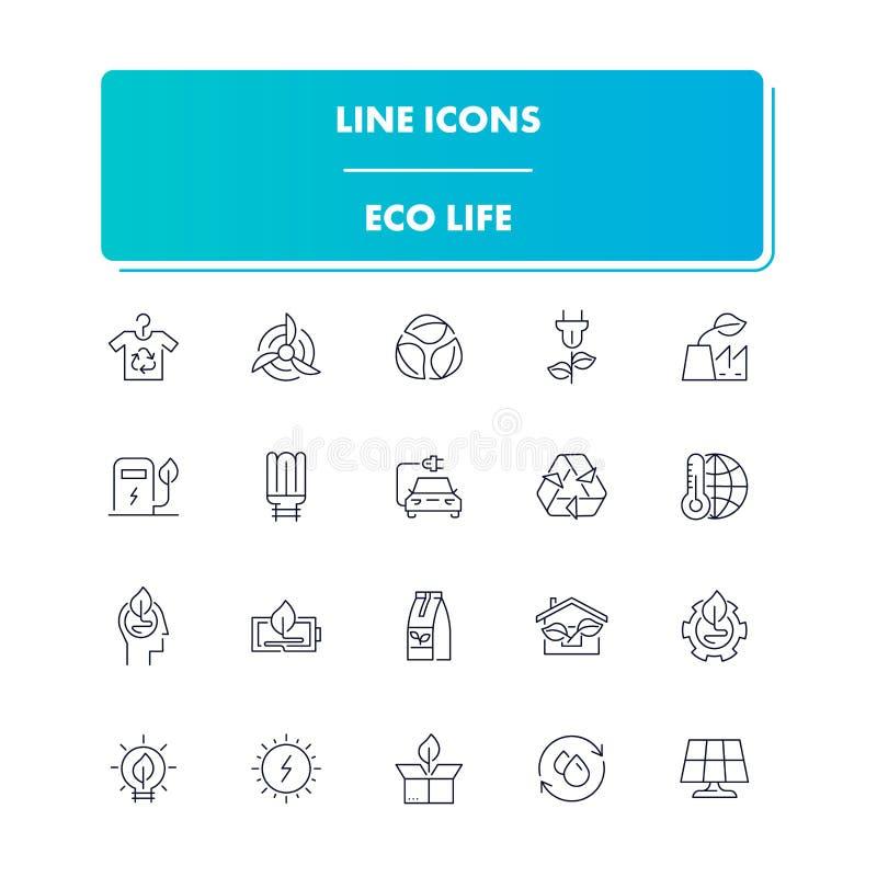 Линия установленные значки Жизнь Eco иллюстрация штока