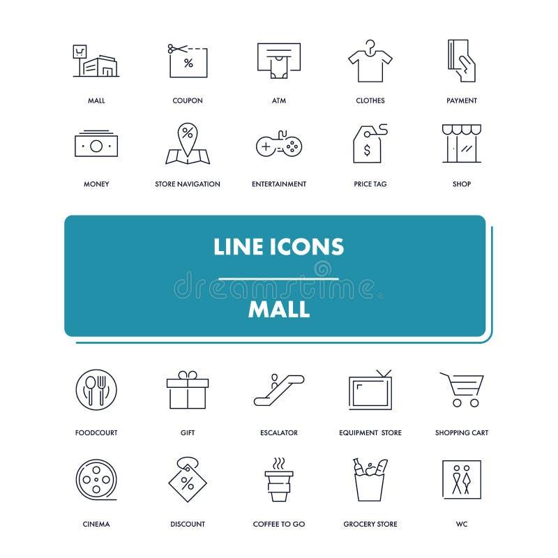 Линия установленные значки мол бесплатная иллюстрация