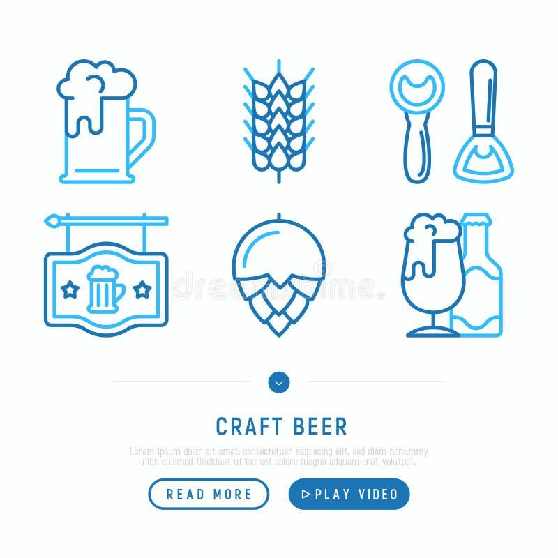 Линия установленные значки пива ремесла тонкая бесплатная иллюстрация